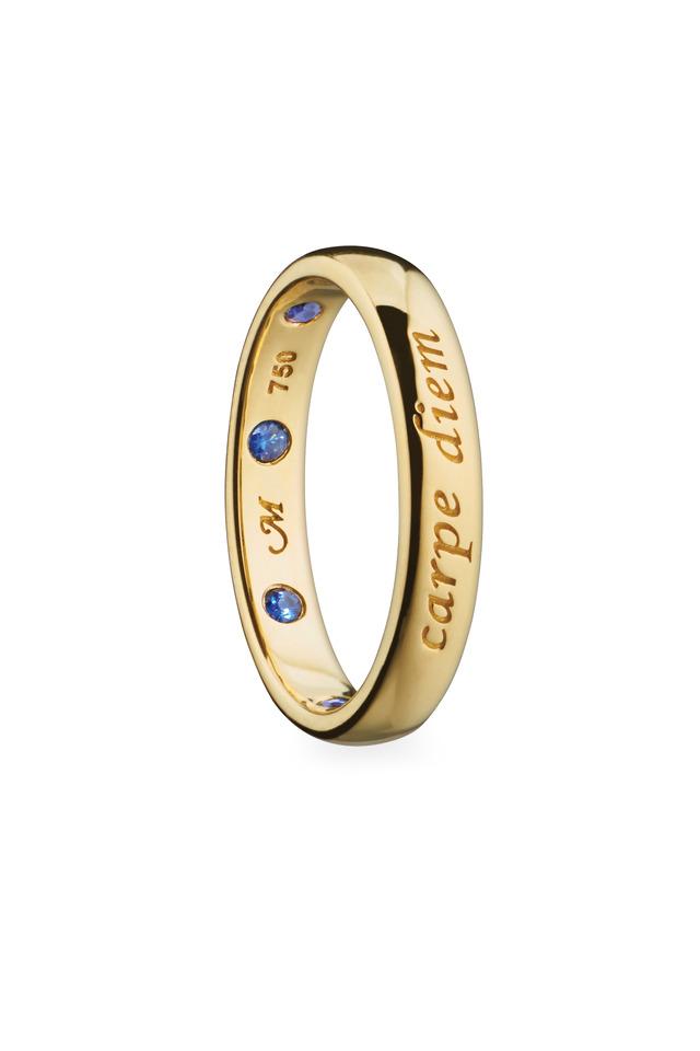 "18K Yellow Gold Sapphire ""Carpe Diem"" Posey Ring"