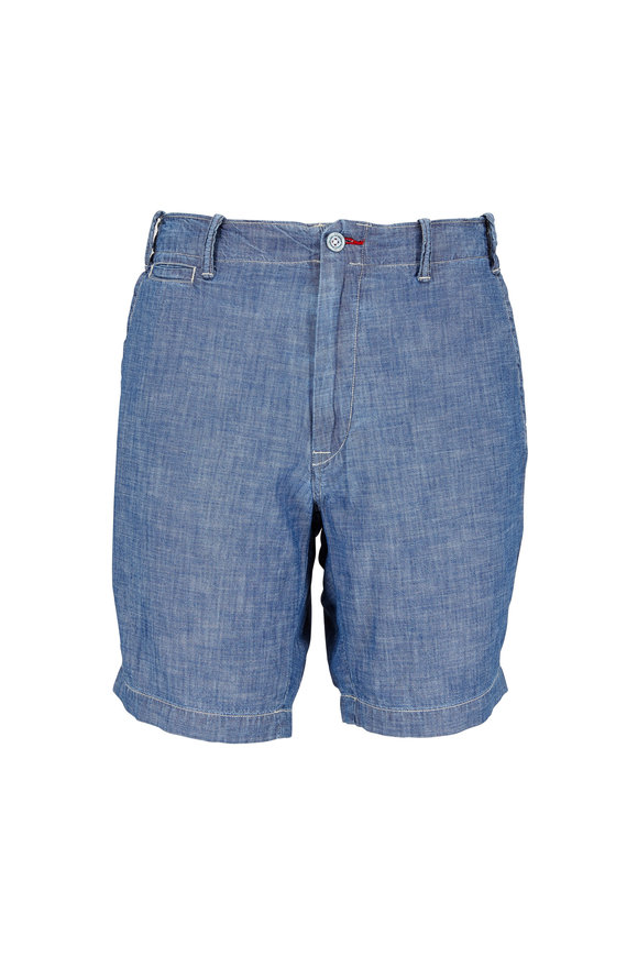 Polo Ralph Lauren Blue Cotton Chambray Straight Fit Shorts