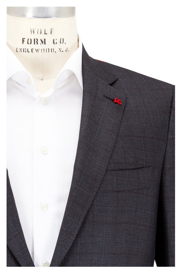 Isaia Aquaspider Gray Plaid Performance Wool Suit