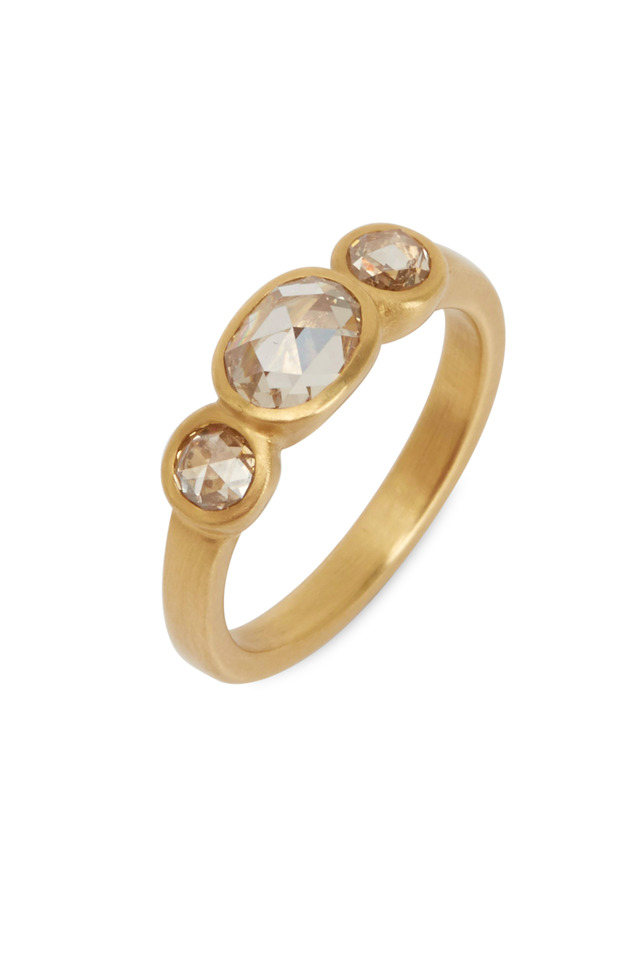 20K Yellow Gold Champagne Diamond Ring