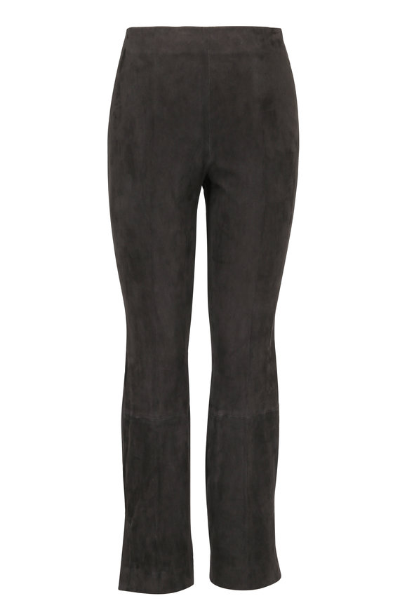 Vince Graphite Stretch Suede Split Hem Cropped Pant