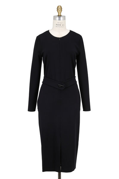 Emporio Armani - Black Stretch Jersey Long Sleeve Belted Dress