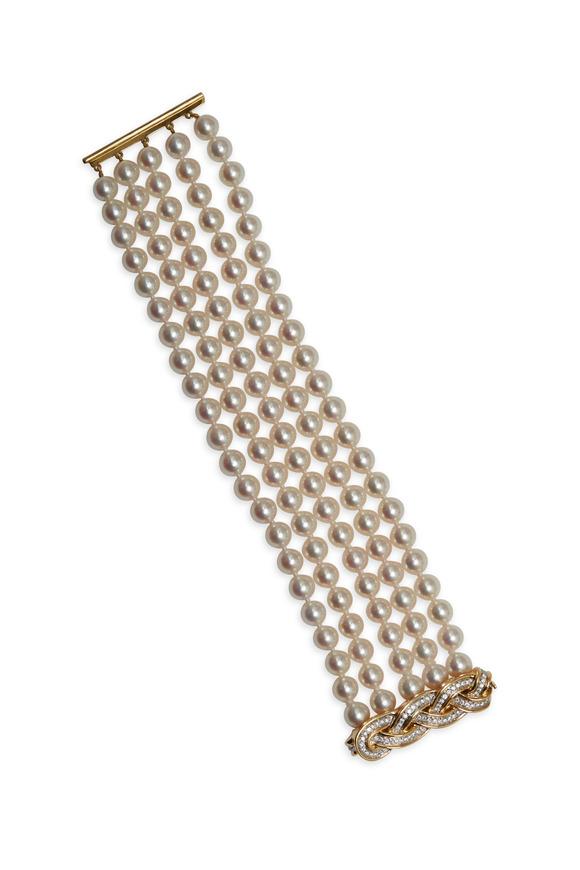 Assael Angela Cummings Gold Woven Diamond Bracelet