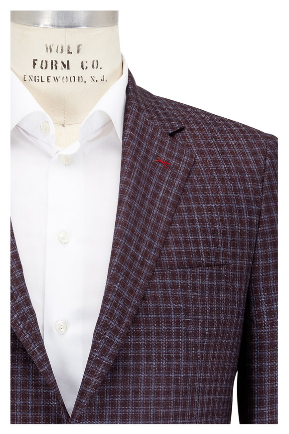 Samuelsohn Burgundy & Blue Check Wool, Silk & Linen Sportcoat