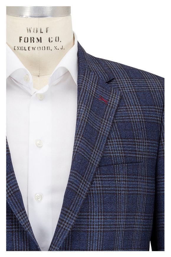 Samuelsohn Blue, Brown & Gray Plaid Wool Sportcoat