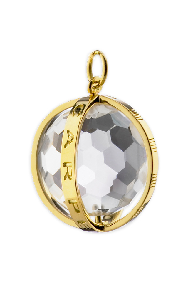 "Yellow Gold Crystal ""Carpe Diem"" Charm"