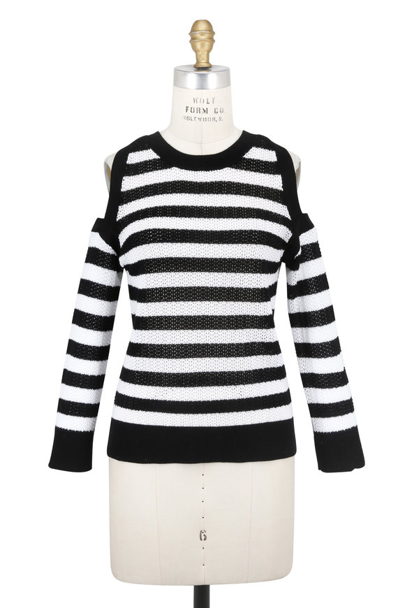 Rag & Bone Tracey Black & White Striped Cut-Out Sweater
