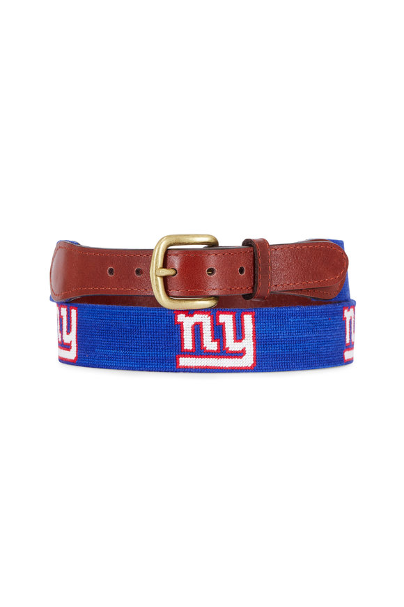Smathers & Branson Royal Blue New York Giants Needlepoint Belt