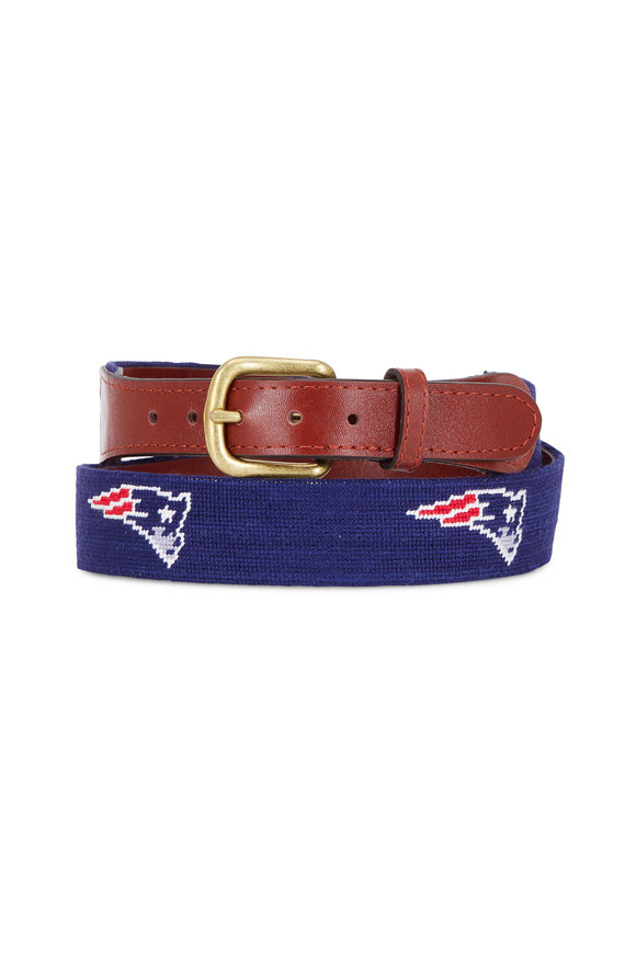 Smathers & Branson Navy Blue New England Patriots Needlepoint Belt