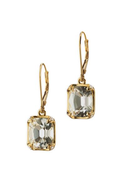 Monica Rich Kosann - Yellow Gold Rock Crystal Diamond Earrings
