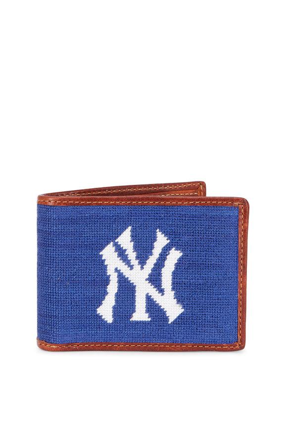 Smathers & Branson Blue New York Yankees Needlepoint Bi-Fold Wallet