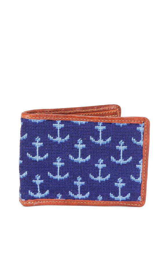Smathers & Branson Blue Anchor Print Needlepoint Bi-Fold Wallet