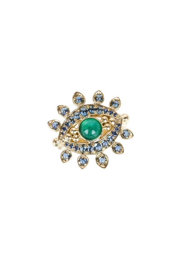 Temple St. Clair 18K Gold Sapphire & Emerald Evil Eyelash Ring
