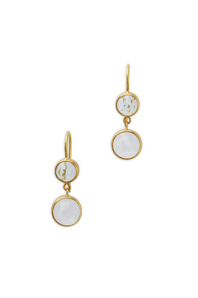 Caroline Ellen - Yellow Gold Double Blue Topaz Drop Earrings