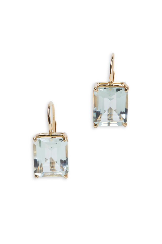 Yellow Gold Emerald-Cut Green Amethyst Earrings