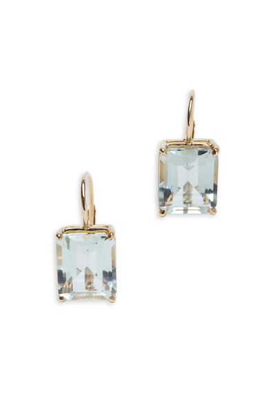 Emily & Ashley - Yellow Gold Emerald-Cut Green Amethyst Earrings