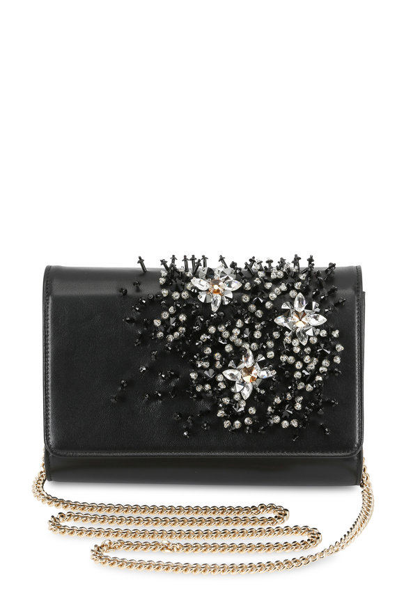 Lanvin Black Crystal Embroidered Chain Wallet