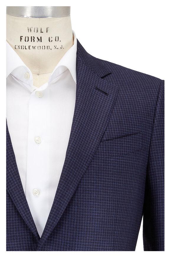 Ermenegildo Zegna Navy Blue Houndstooth Wool Sportcoat