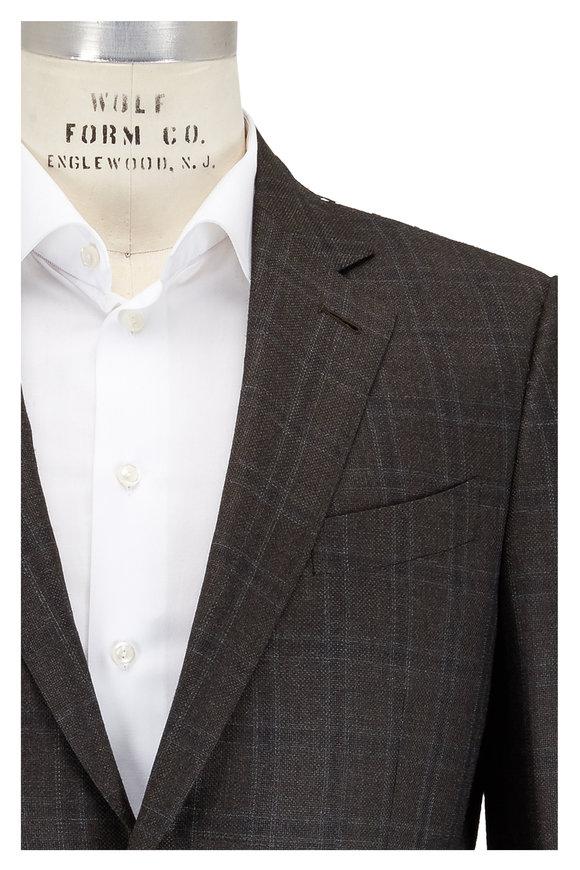 Ermenegildo Zegna Olive Green Windowpane Wool Sportcoat