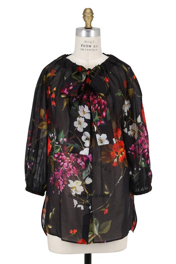 Escada Nivisas Black Cotton Floral Print Top