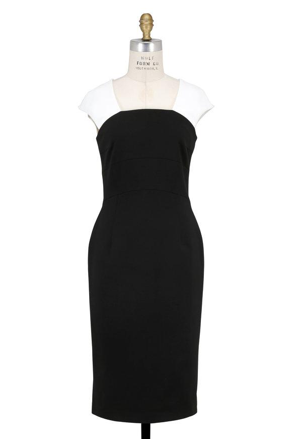 Escada Dwaina Black & White Contrast Shoulder Dress