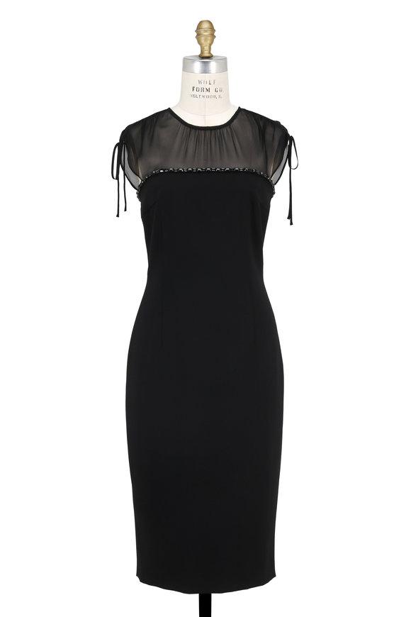 Escada Dranina Black Sheer Shoulder Dress