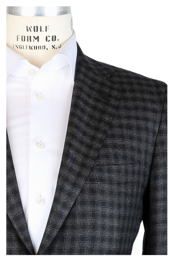 Kiton Charcoal Gray Check Cashmere Sportcoat