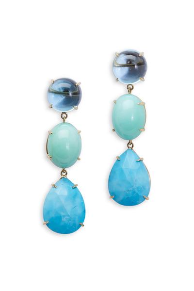 Emily & Ashley - Aquamarine, Chrysoprase, Turquoise 3 Drop Earrings