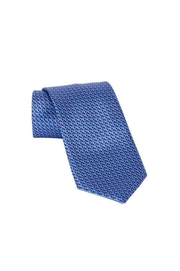 Ermenegildo Zegna Blue Geometric Print Silk Necktie
