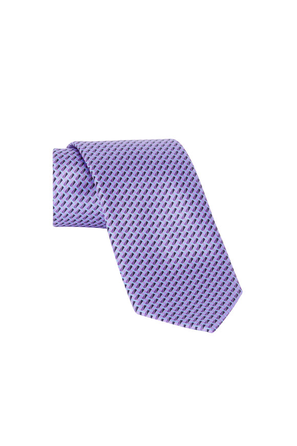 Ermenegildo Zegna Purple Geometric Print Silk Necktie