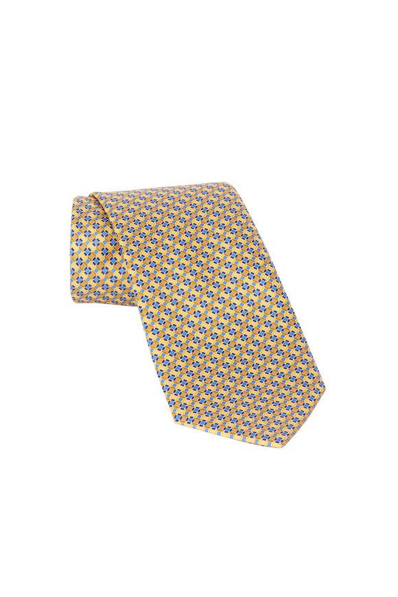 Ermenegildo Zegna Yellow & Blue Geometric Print Silk Necktie