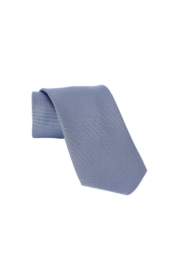 Ermenegildo Zegna Light Blue Neat Print Silk Necktie
