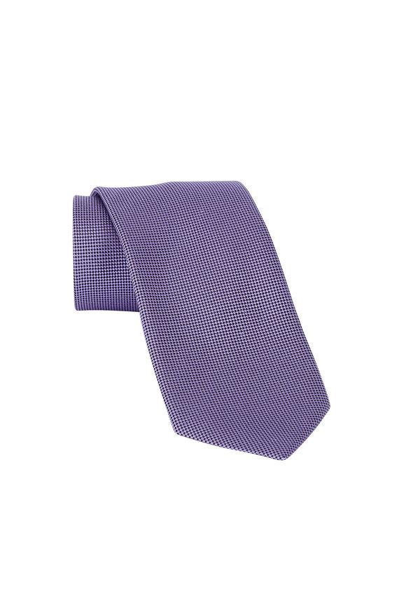 Ermenegildo Zegna Purple Neat Print Silk Necktie