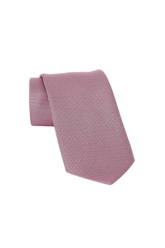 Ermenegildo Zegna Pink & Black Neat Print Silk Necktie
