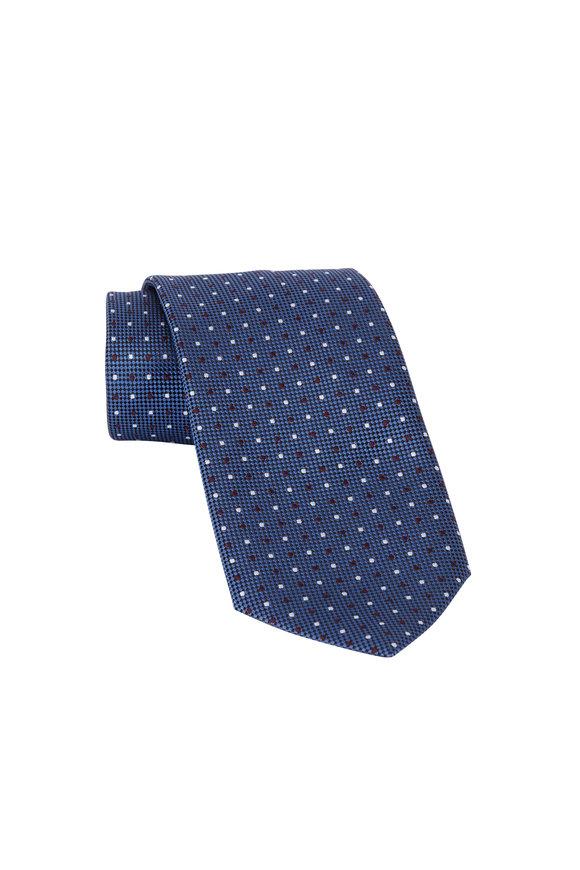 Ermenegildo Zegna Dark Blue Dot Pattern Silk Necktie