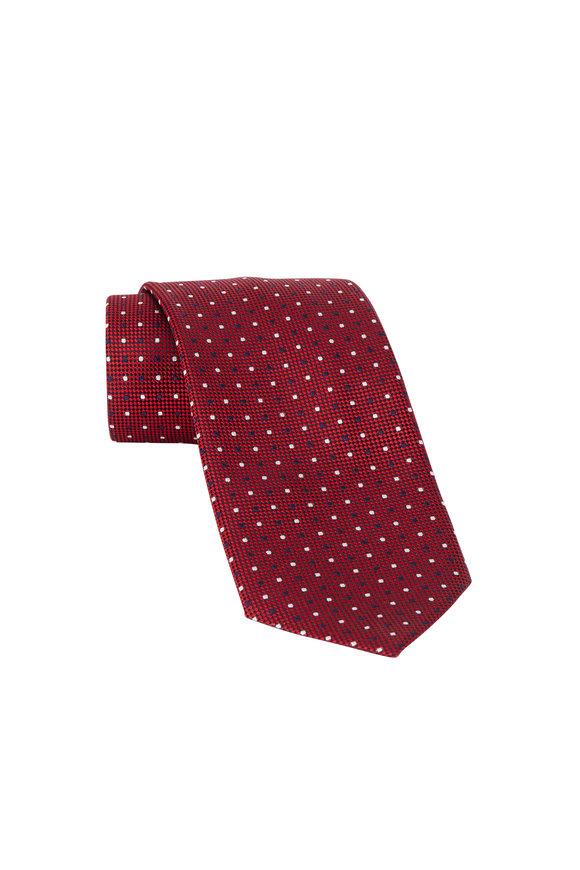 Ermenegildo Zegna Red Dot Pattern Silk Necktie