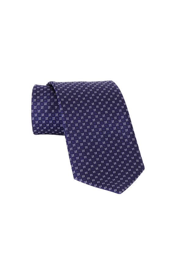 Ermenegildo Zegna Dark Blue Geometric Print Silk Necktie