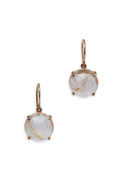 Emily & Ashley - Yellow Gold Rutilated Quartz Drop Earrings