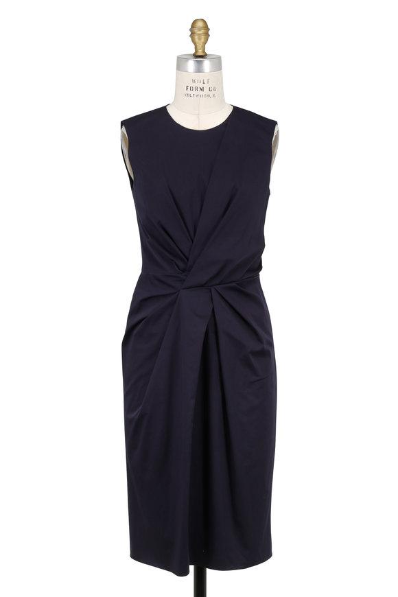 Paule Ka Indigo Stretch Cotton Twist Front Sleeveless Dress