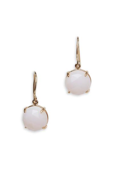 Emily & Ashley - Yellow Gold Pink Opal Drop Earrings