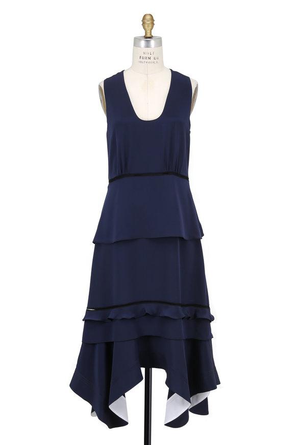 Derek Lam Navy Silk Handkerchief Hem Sleeveless Dress