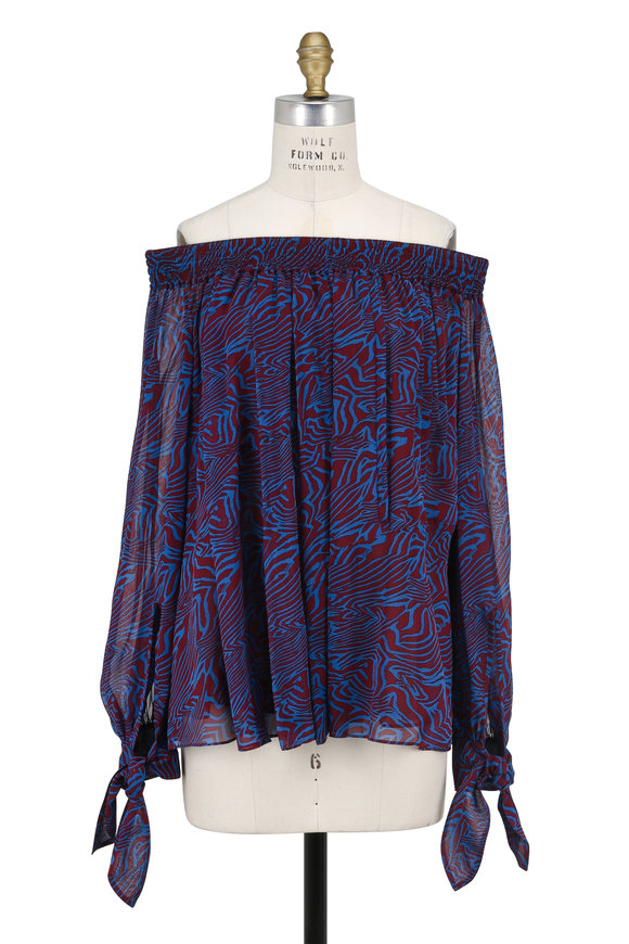 Derek Lam Blue & Burgundy Zebra Print Off-The-Shoulder Top