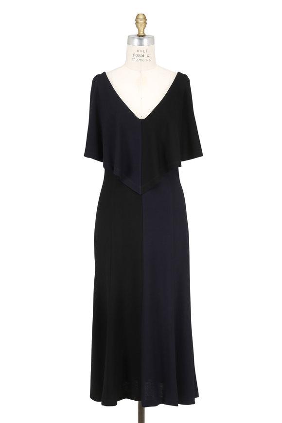 Derek Lam Black & Navy Bi-Color Shoulder Slit Dress