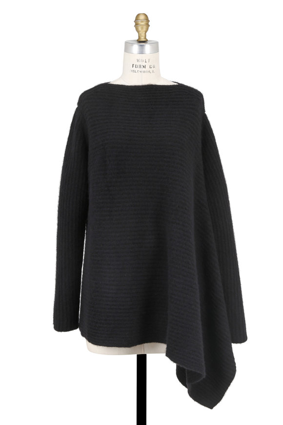 Derek Lam Black Ribbed Cashmere & Silk Asymmetric Sweater