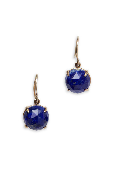 Emily & Ashley - Yellow Gold Lapis Drop Earrings