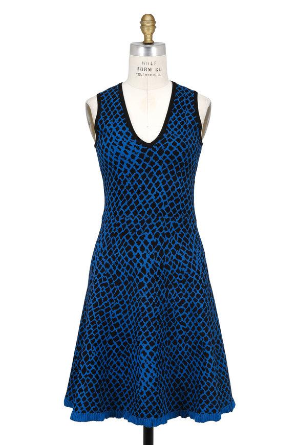 Derek Lam Black & Blue Python Jacquard Fit & Flare Dress