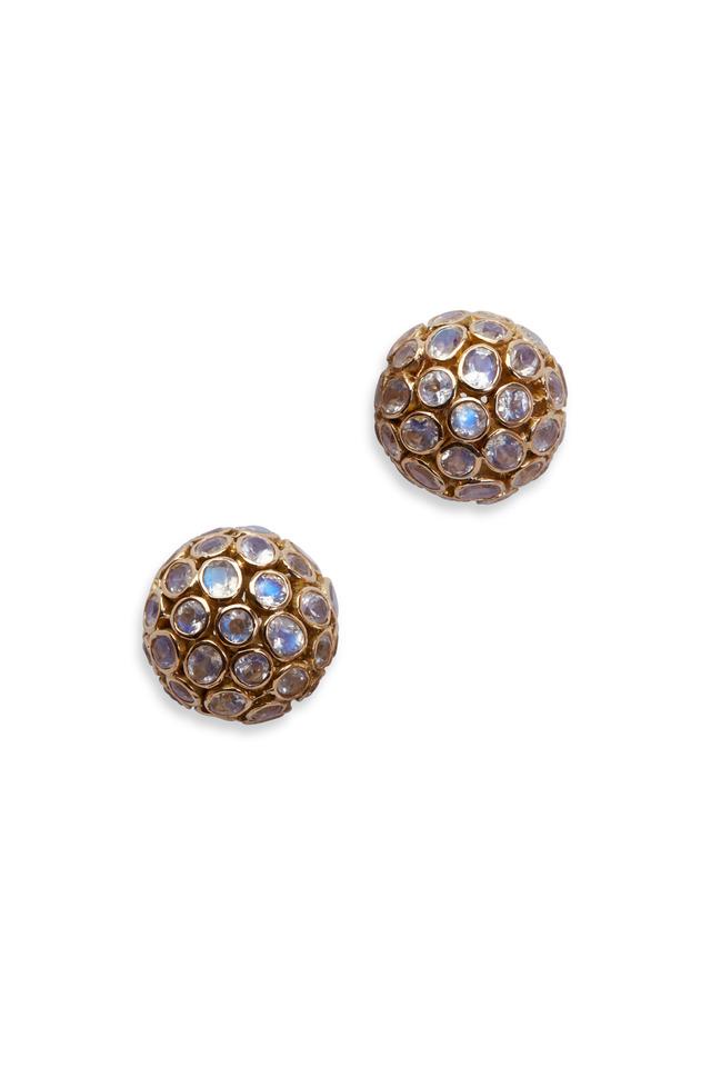 Moonstone Dome Stud Earrings