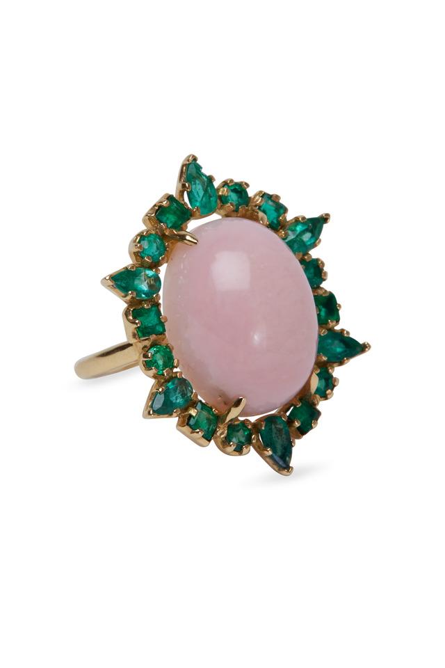 Yellow Gold Pink Opal & Emerald Ruffle Ring
