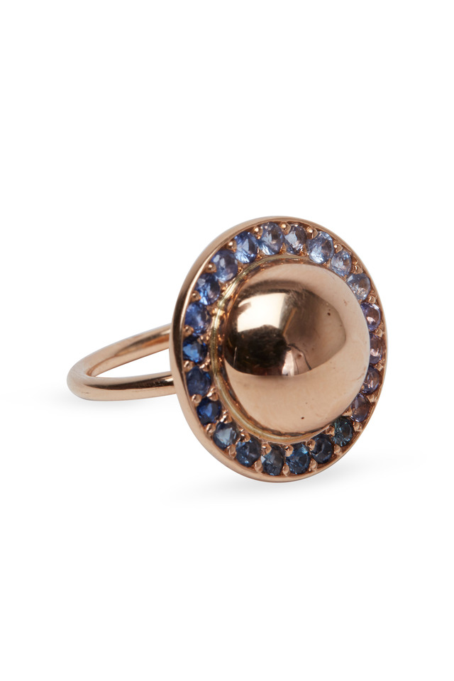 Rose Gold Blue Sapphire Dome Ring