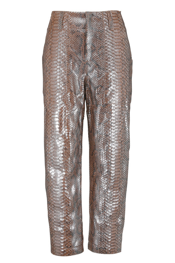 Brunello Cucinelli Gray & Rose Gold Python Cropped Pant
